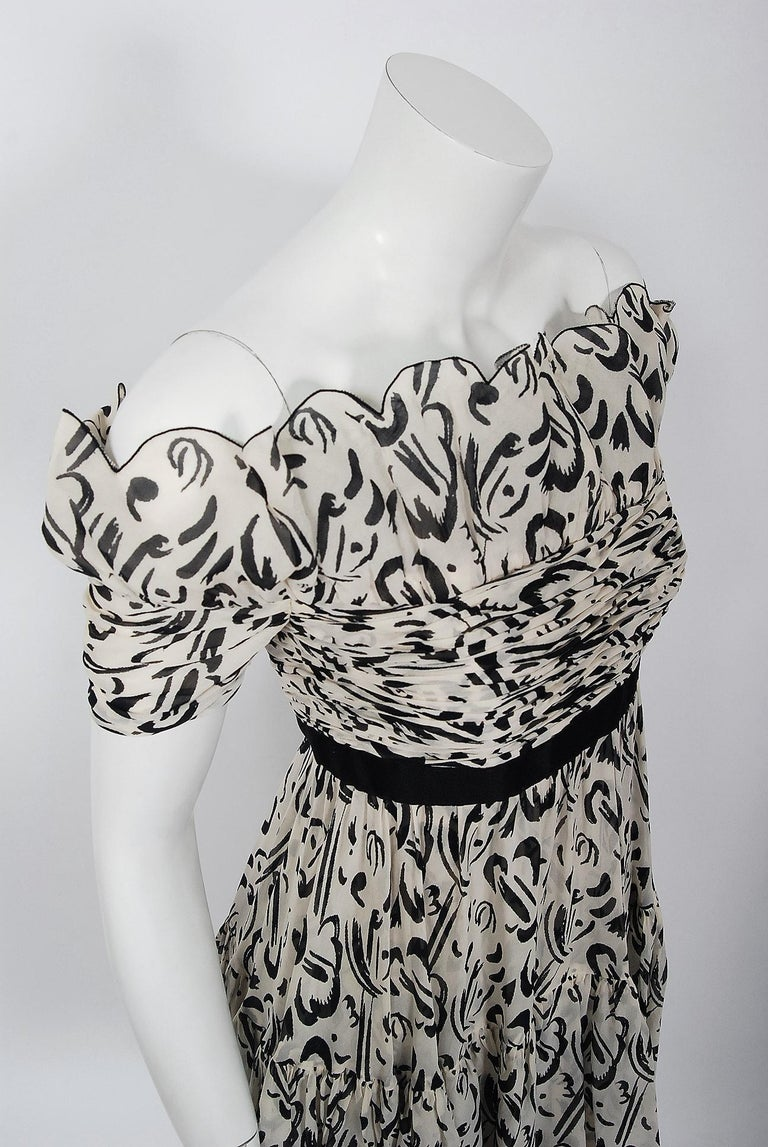 Vintage 1990 Chanel Documented Black & White Print Silk Off-Shoulder Mini Dress In Good Condition For Sale In Beverly Hills, CA