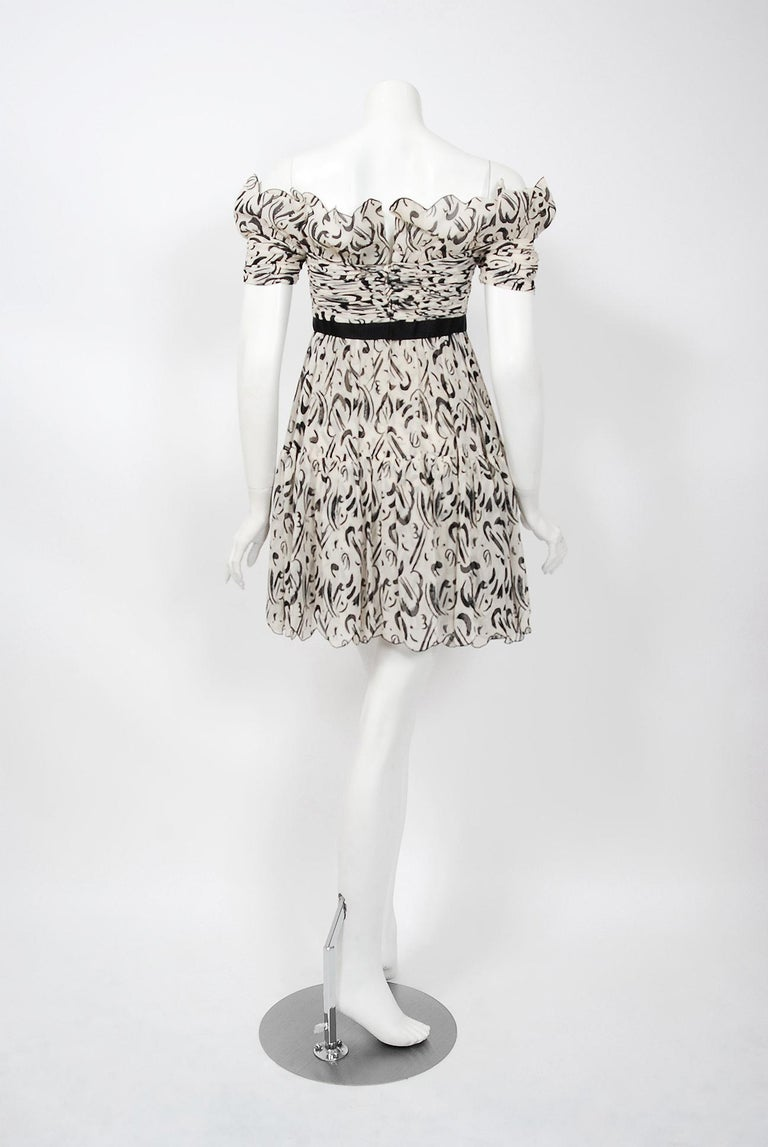 Vintage 1990 Chanel Documented Black & White Print Silk Off-Shoulder Mini Dress For Sale 1
