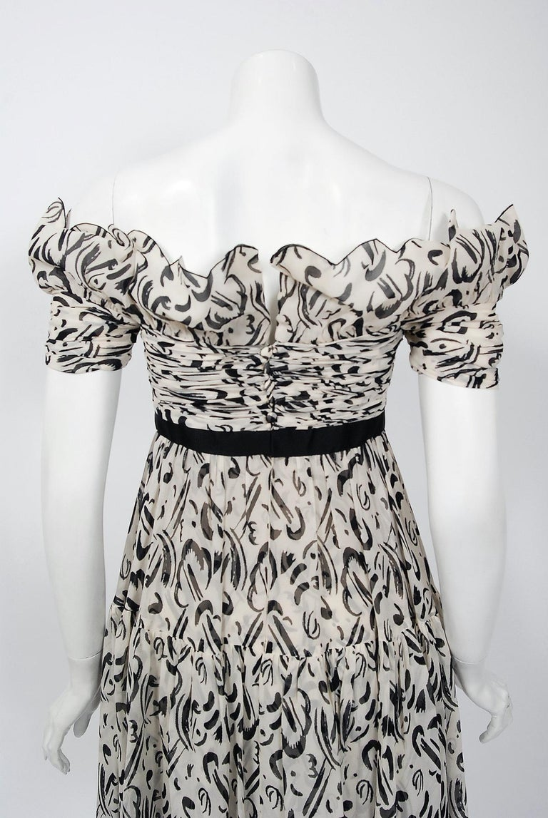 Vintage 1990 Chanel Documented Black & White Print Silk Off-Shoulder Mini Dress For Sale 2