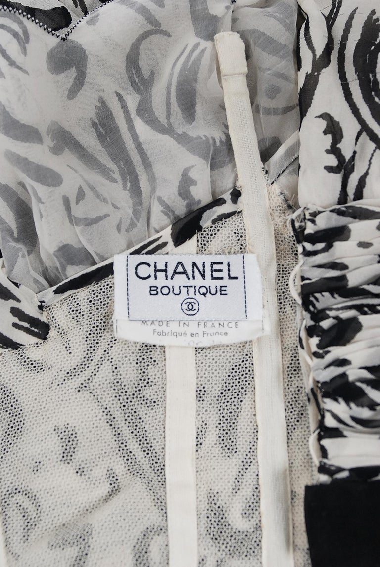 Vintage 1990 Chanel Documented Black & White Print Silk Off-Shoulder Mini Dress For Sale 3