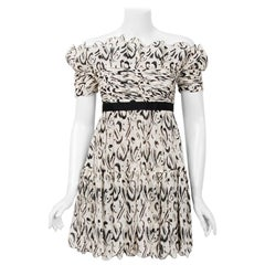 1990 Chanel Documented Black & White Print Silk Off-Shoulder Babydoll Mini Dress