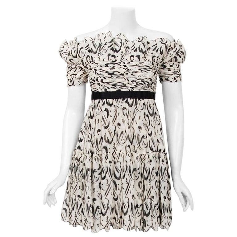 1990 Chanel Documented Black & White Print Silk Off-Shoulder Babydoll Mini Dress For Sale