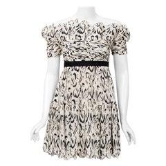 1990 Chanel Documented Black & White Print Silk Off-Shoulder Babydoll Mini Dress