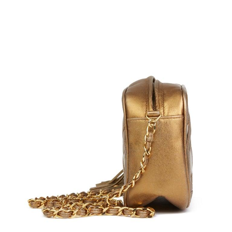 Brown 1990 Chanel Gold Metallic Lambskin & PVC Vintage Naked Camera Bag For Sale