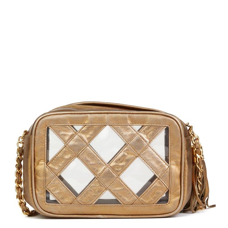 1990 Chanel Gold Metallic Lambskin & PVC Vintage Naked Camera Bag In Excellent Condition For Sale In Bishop's Stortford, Hertfordshire