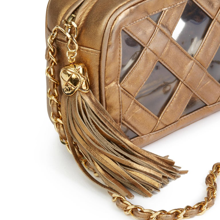 Women's 1990 Chanel Gold Metallic Lambskin & PVC Vintage Naked Camera Bag For Sale