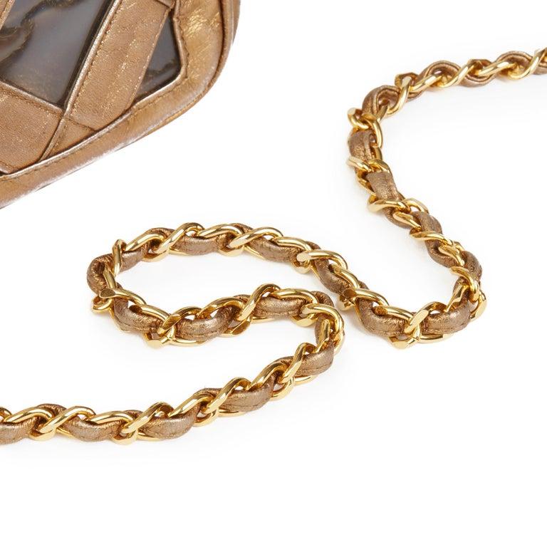 1990 Chanel Gold Metallic Lambskin & PVC Vintage Naked Camera Bag For Sale 1