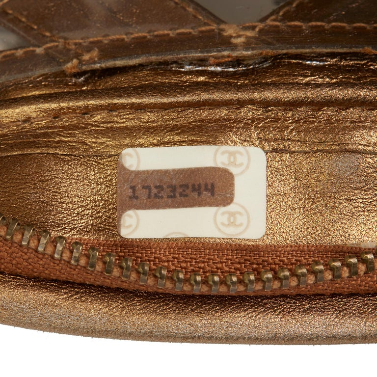 1990 Chanel Gold Metallic Lambskin & PVC Vintage Naked Camera Bag For Sale 3