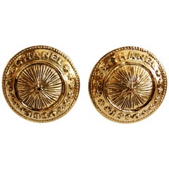 1990 Chanel Medallion Button Clip On Earrings