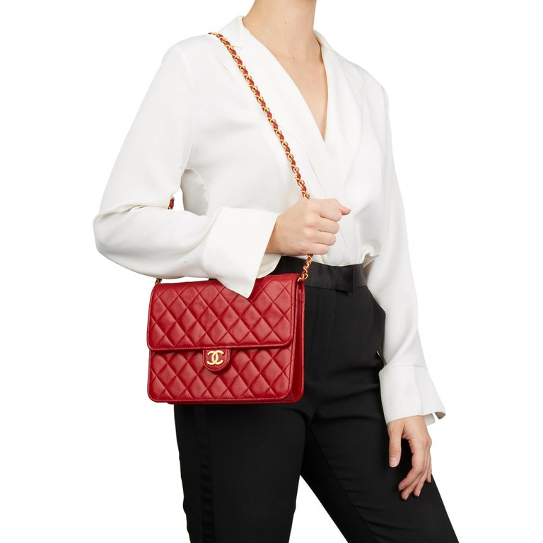 1990 Chanel Red Quilted Lambskin Vintage Small Classic Single Flap Bag For Sale 7