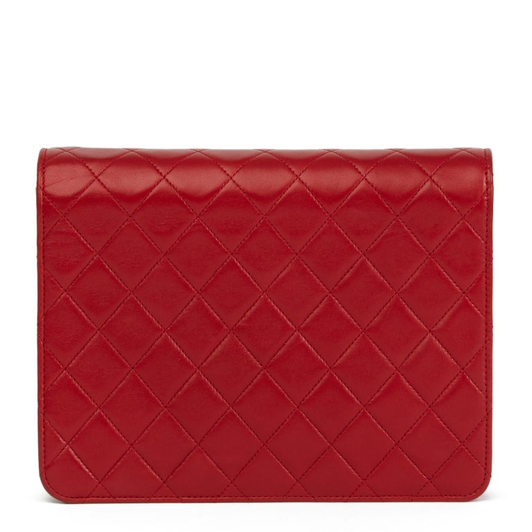 Women's 1990 Chanel Red Quilted Lambskin Vintage Small Classic Single Flap Bag For Sale