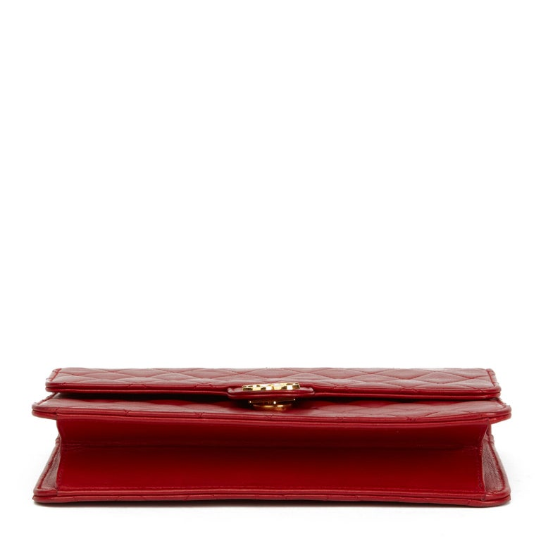 1990 Chanel Red Quilted Lambskin Vintage Small Classic Single Flap Bag For Sale 1
