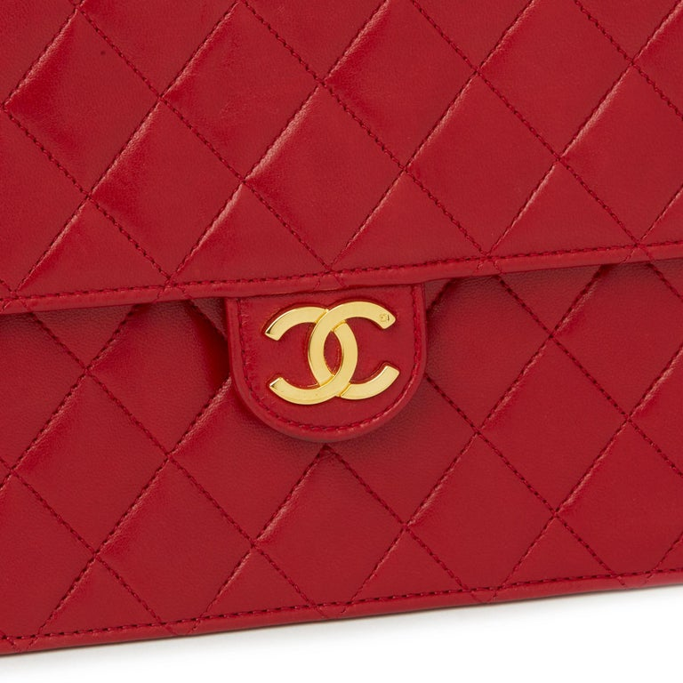 1990 Chanel Red Quilted Lambskin Vintage Small Classic Single Flap Bag For Sale 2