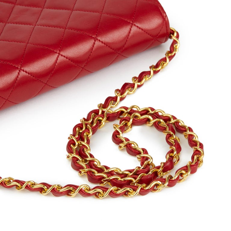 1990 Chanel Red Quilted Lambskin Vintage Small Classic Single Flap Bag For Sale 3