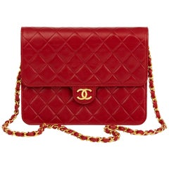 1990 Chanel Red Quilted Lambskin Vintage Small Classic Single Flap Bag