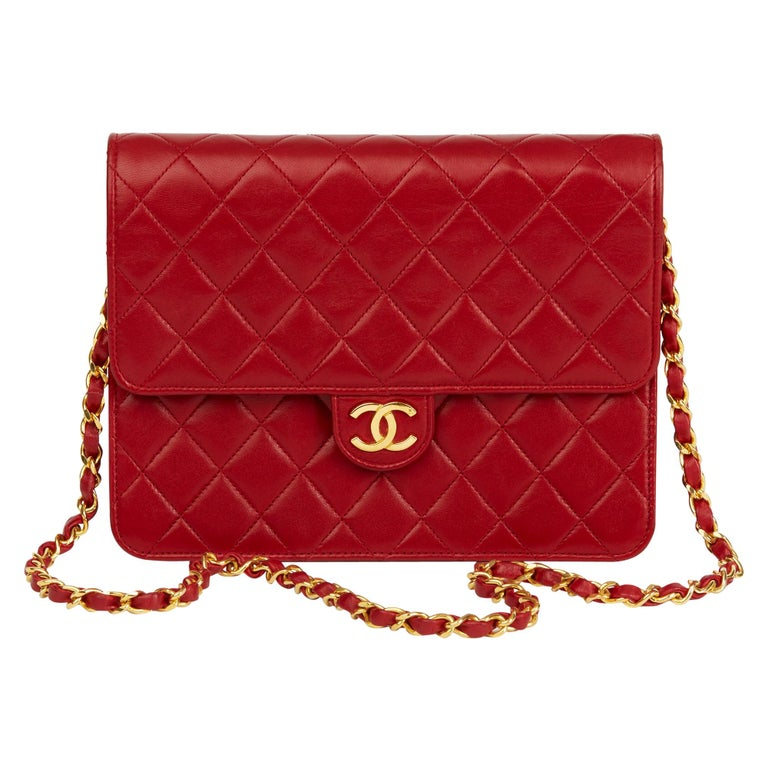 1990 Chanel Red Quilted Lambskin Vintage Small Classic Single Flap Bag For Sale