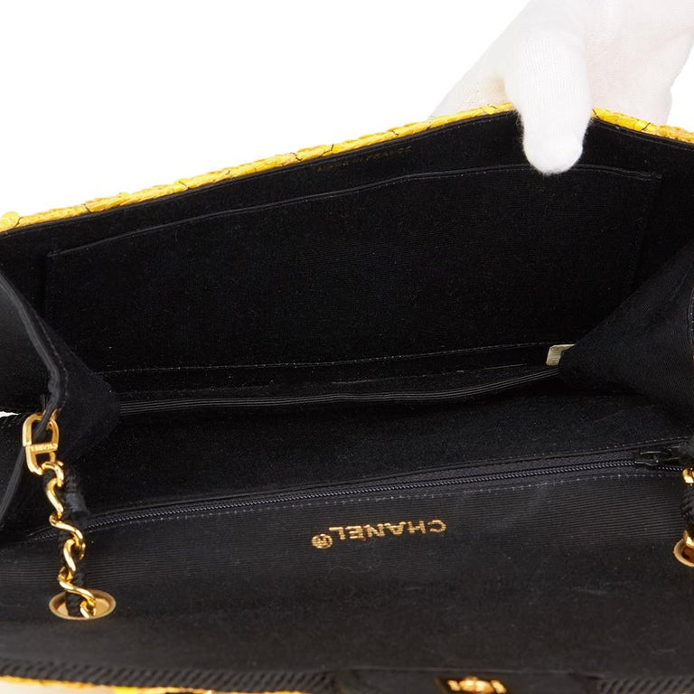1990 Chanel Yellow Sequin & Black Fabric Vintage Classic Single Flap Bag For Sale 6