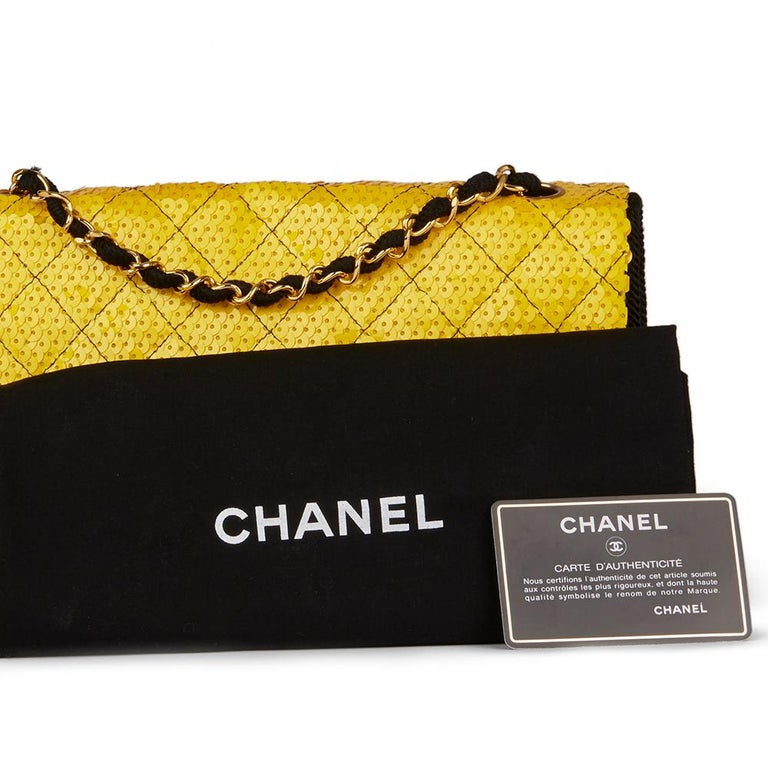 0956cede3cdb 1990 Chanel Yellow Sequin   Black Fabric Vintage Classic Single Flap Bag  For Sale 7
