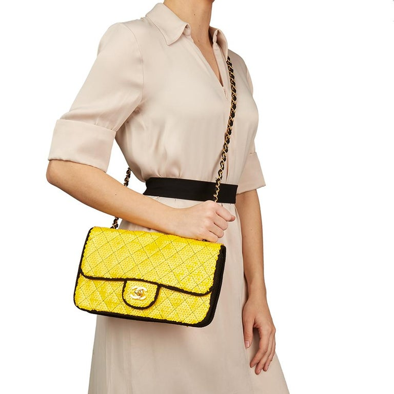 1990 Chanel Yellow Sequin & Black Fabric Vintage Classic Single Flap Bag For Sale 9