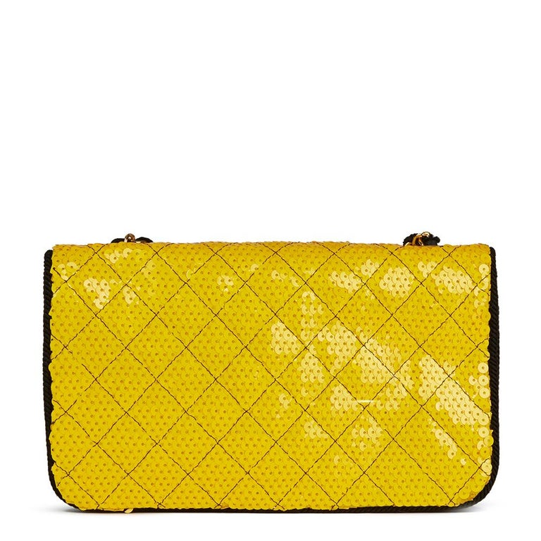 Women's 1990 Chanel Yellow Sequin & Black Fabric Vintage Classic Single Flap Bag For Sale