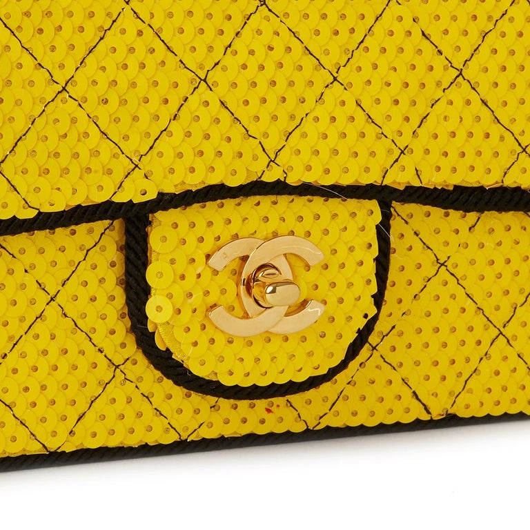 1990 Chanel Yellow Sequin & Black Fabric Vintage Classic Single Flap Bag For Sale 2