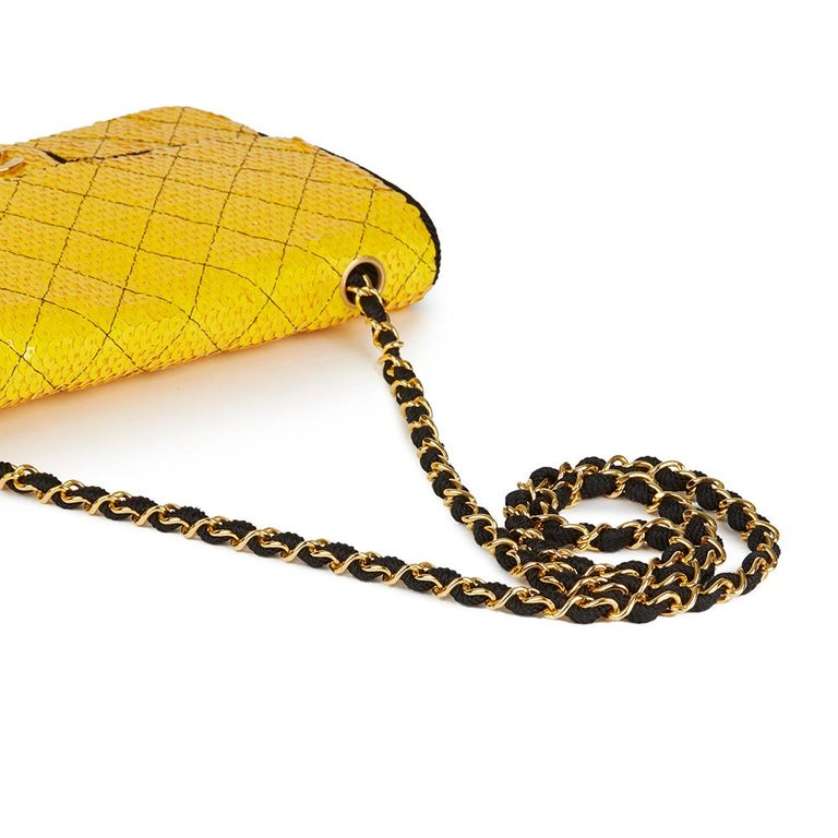 e6160100f747 1990 Chanel Yellow Sequin   Black Fabric Vintage Classic Single Flap Bag  For Sale 3