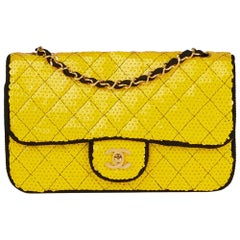 1990 Chanel Yellow Sequin & Black Fabric Vintage Classic Single Flap Bag