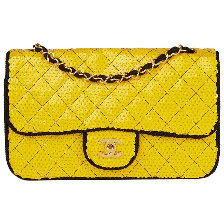 c7f469b82fe7 1990 Chanel Yellow Sequin   Black Fabric Vintage Classic Single Flap Bag  For Sale
