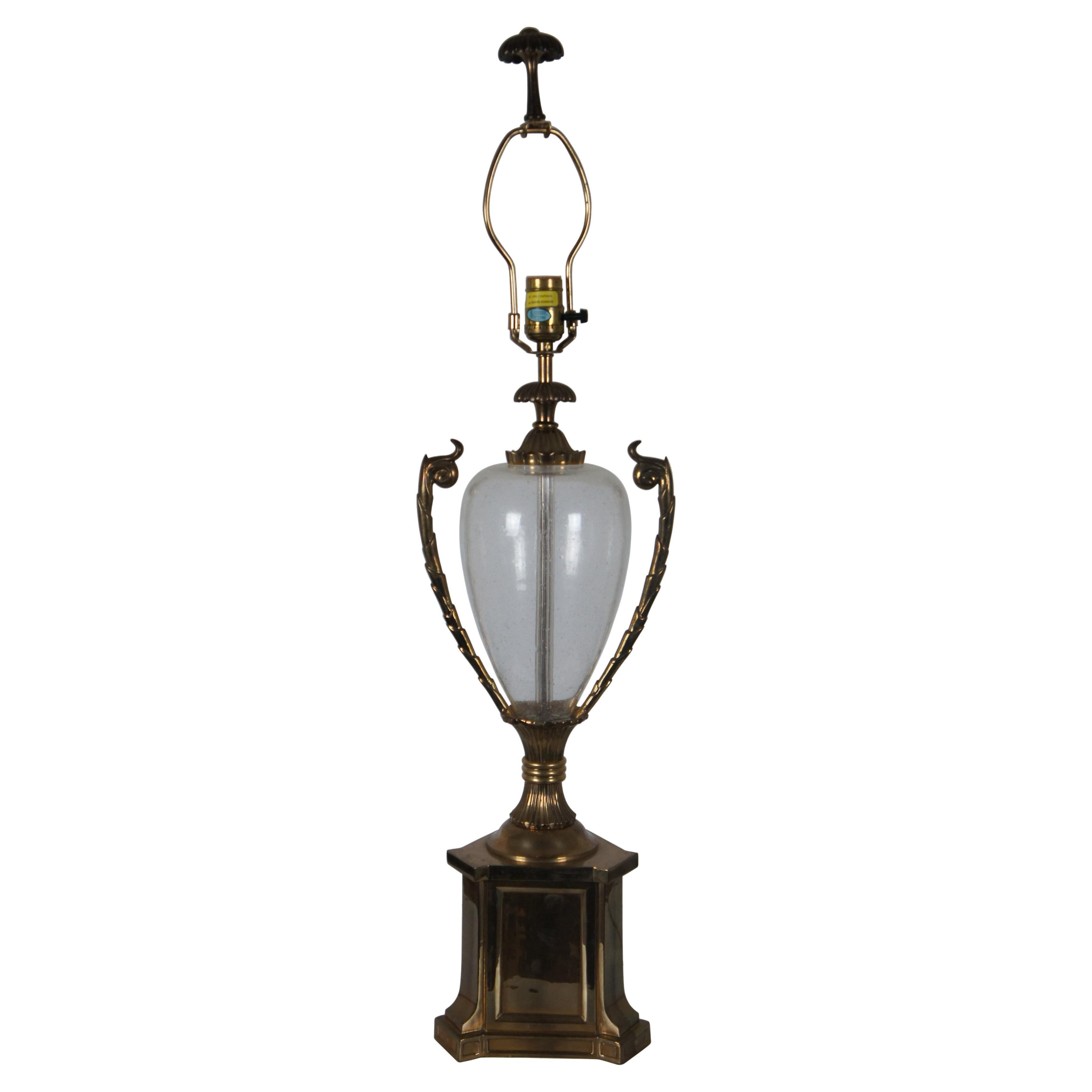 1990 Chapman Hollywood Regency Brass & Glass Globe Trophy Urn Table Lamp