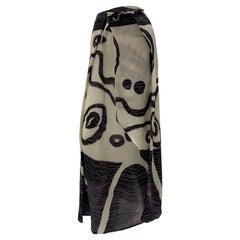 1990 Christian LaCroix Abstract Print Silk Organza Faux Wrap Maxi Skirt