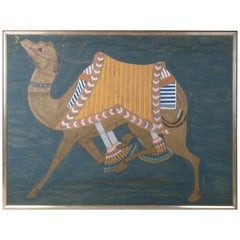 1990 Eastern Style Hand Painted Camel Painting Possibly Moroccan