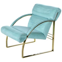 1990 Flat Bar Brass Hollywood Regency Armchair by Carson's, Teal Sea Foam
