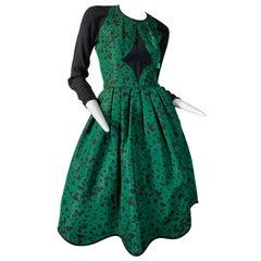 1990 Geoffrey Beene Green & Black Dalmatian Print Silk Cocktail Dress Size 6