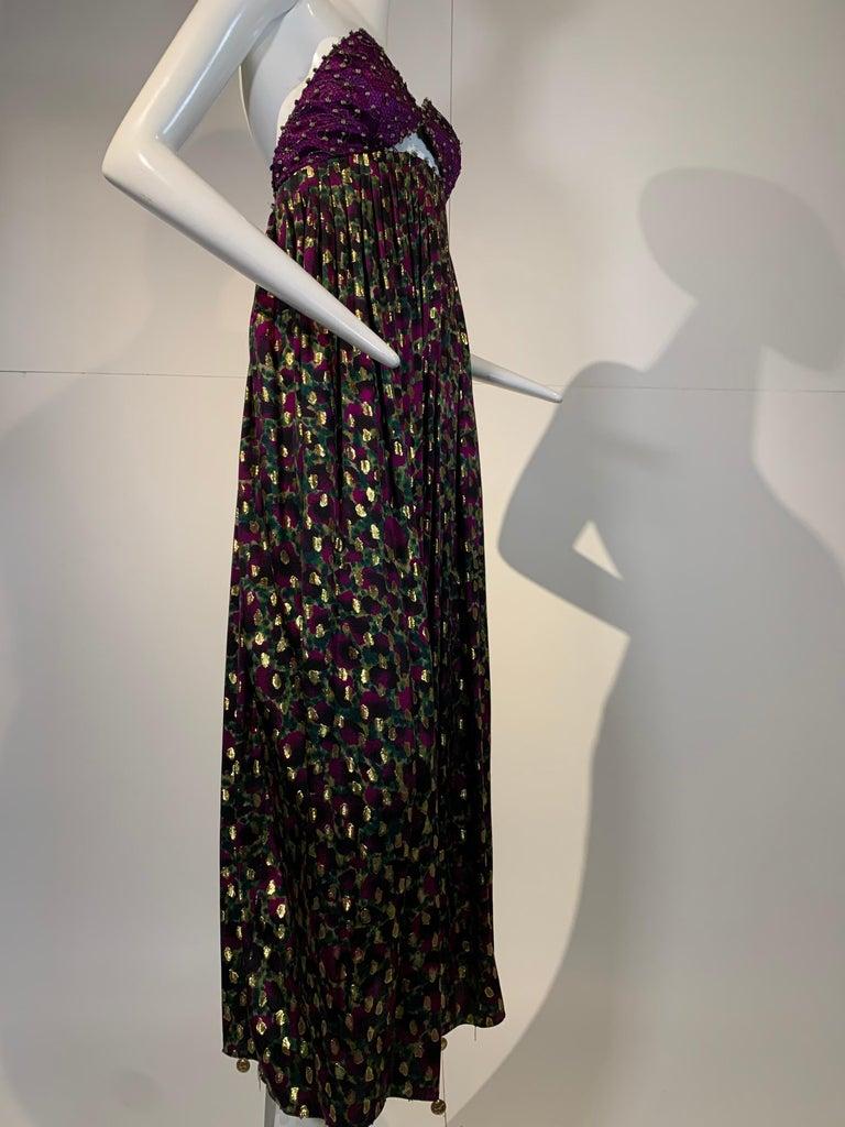 1990 Geoffrey Beene Purple Bodice Silk Gown & Bolero In Gold Lame Dot Print  For Sale 6
