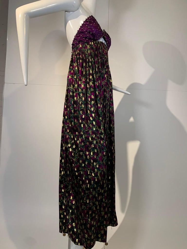 1990 Geoffrey Beene Purple Bodice Silk Gown & Bolero In Gold Lame Dot Print  For Sale 7