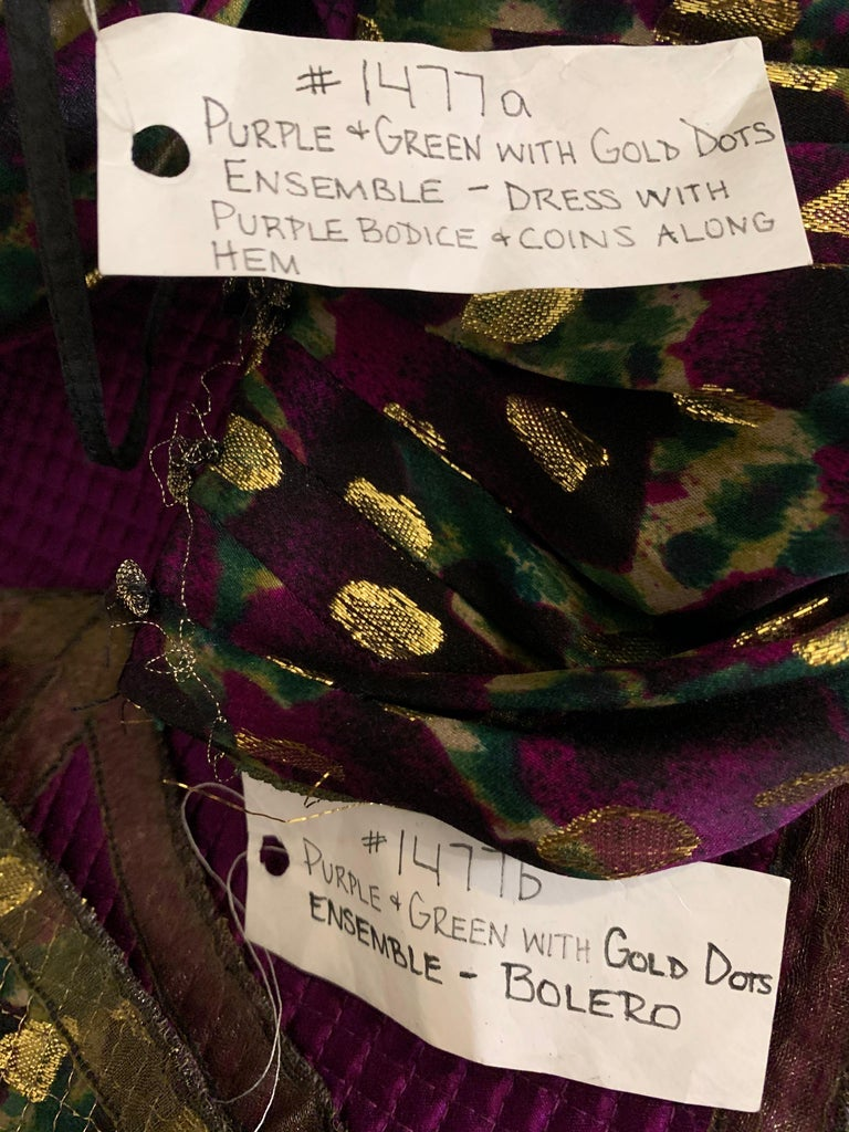 1990 Geoffrey Beene Purple Bodice Silk Gown & Bolero In Gold Lame Dot Print  For Sale 10