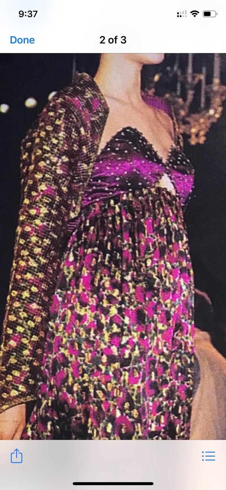 1990 Geoffrey Beene Purple Bodice Silk Gown & Bolero In Gold Lame Dot Print  For Sale 11