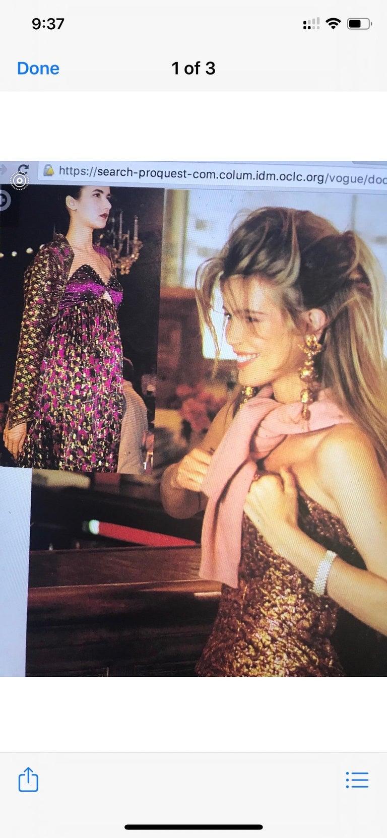 1990 Geoffrey Beene Purple Bodice Silk Gown & Bolero In Gold Lame Dot Print  For Sale 12