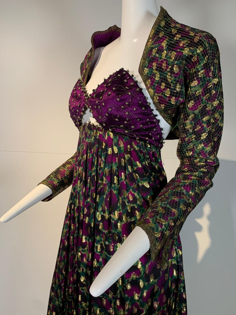 1990 Geoffrey Beene Purple Bodice Silk Gown & Bolero In Gold Lame Dot Print  In Excellent Condition For Sale In San Francisco, CA