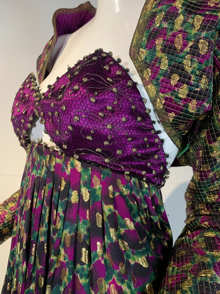 Women's 1990 Geoffrey Beene Purple Bodice Silk Gown & Bolero In Gold Lame Dot Print  For Sale