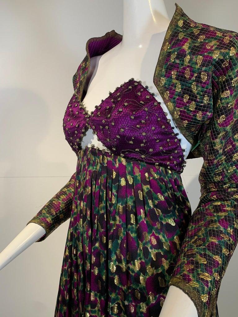 1990 Geoffrey Beene Purple Bodice Silk Gown & Bolero In Gold Lame Dot Print  For Sale 1
