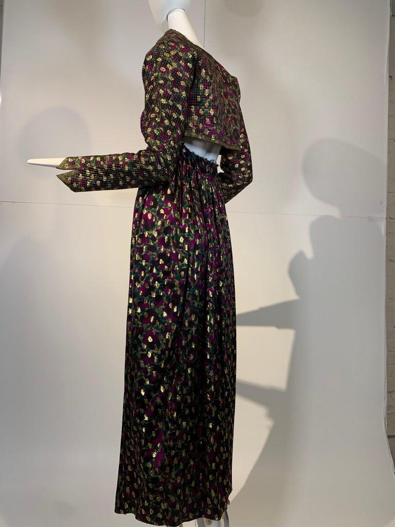 1990 Geoffrey Beene Purple Bodice Silk Gown & Bolero In Gold Lame Dot Print  For Sale 2