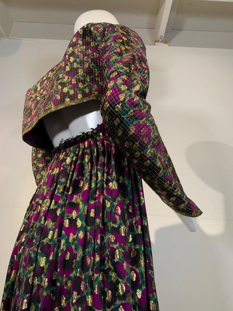 1990 Geoffrey Beene Purple Bodice Silk Gown & Bolero In Gold Lame Dot Print  For Sale 3