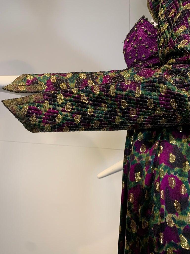 1990 Geoffrey Beene Purple Bodice Silk Gown & Bolero In Gold Lame Dot Print  For Sale 4