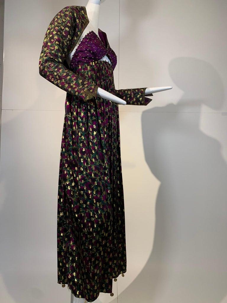 1990 Geoffrey Beene Purple Bodice Silk Gown & Bolero In Gold Lame Dot Print  For Sale 5