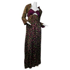 1990 Geoffrey Beene Purple Bodice Silk Gown & Bolero In Gold Lame Dot Print