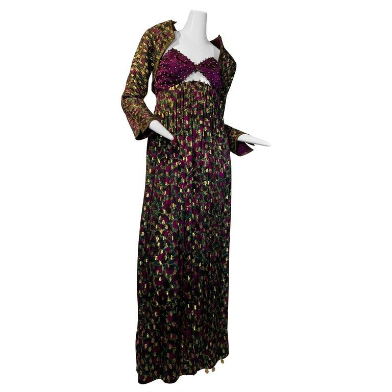 1990 Geoffrey Beene Purple Bodice Silk Gown & Bolero In Gold Lame Dot Print  For Sale