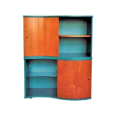 1990 Green and Stained Cherrywood Bookshelf for Roche Bobois by Sormani, Italy