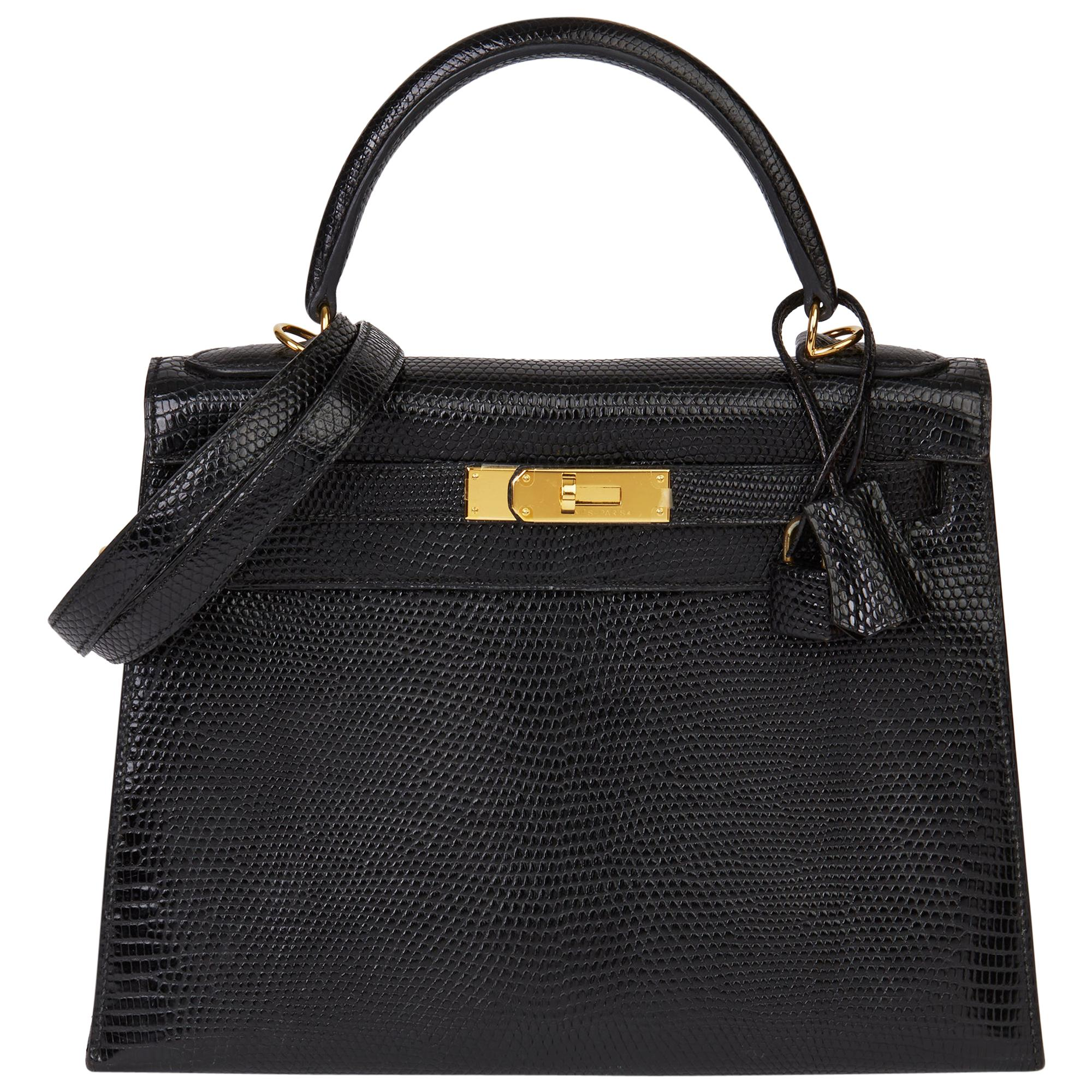 1990 Hermès Black Lizard Leather Vintage Kelly 28cm Sellier