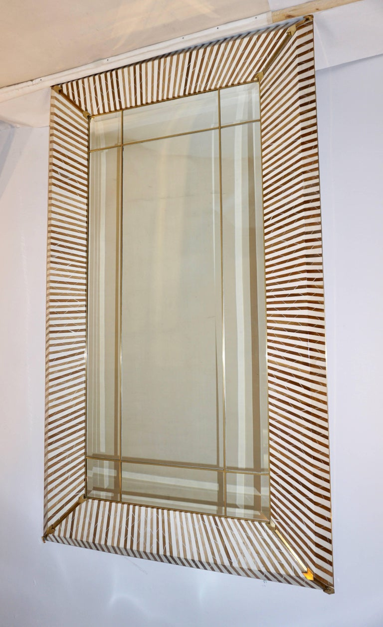 Hand-Crafted 1990 Italian Geometric White & Brown Bamboo Wood Floor Mirror with Brass Accents For Sale